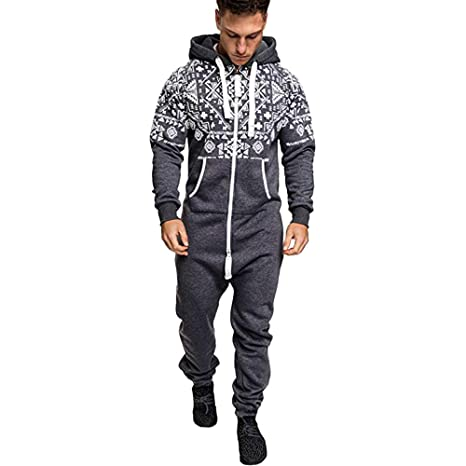 19d06e6b04b9 Men s Christmas Onesie Jumpsuit one Piece Non Footed Pajamas Unisex-Adult  Hooded Overall Zip up Playsuit Xmas Romper (Grey