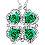 MEGA CREATIVE JEWELRY Good Luck Four Leaf Clover Pendant Necklace Crystals from Swarovski