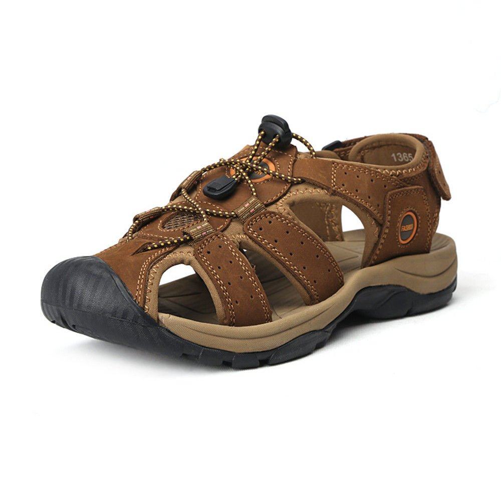 QXH Men's Sandals Beach Shoes Leather Round Head Breathable Casual 46 EU|Light Brown