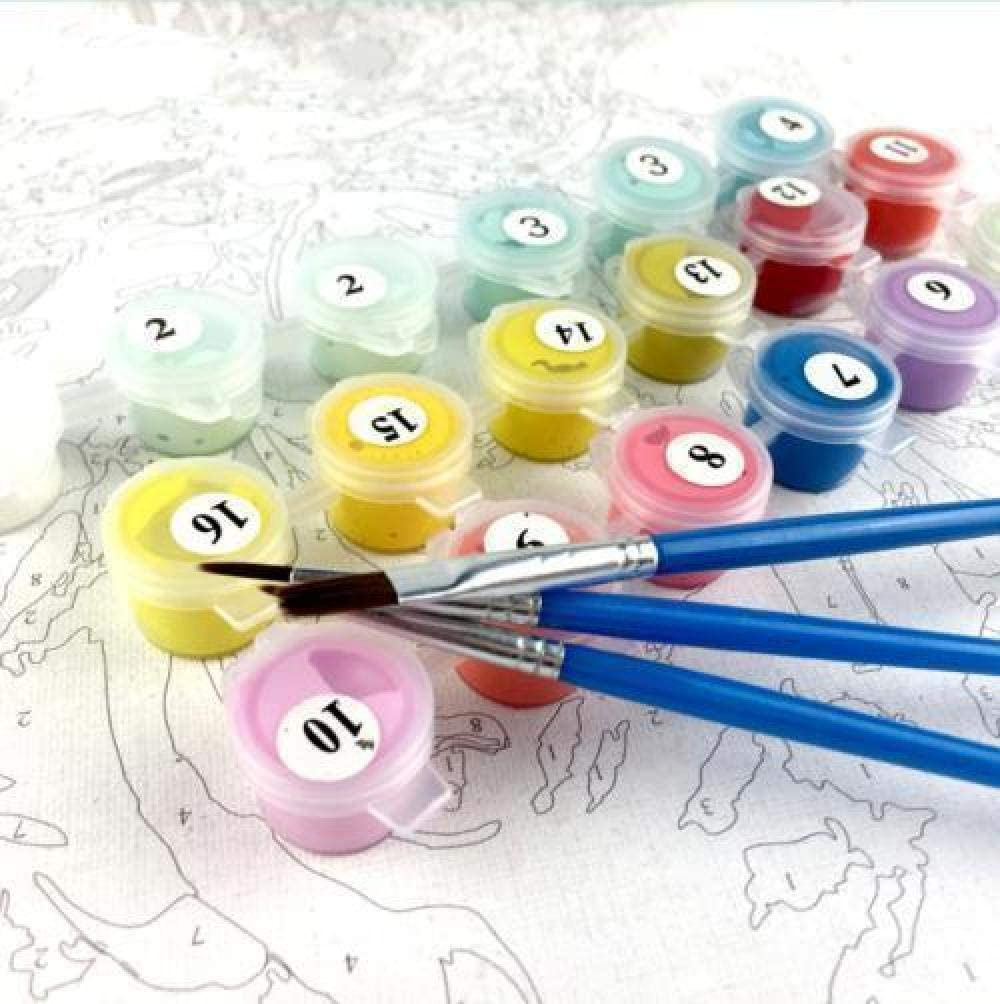 pzmolpq Dipinto ad Olio con Numeri Kit di Piante a Foglia Disegno su Tela Dipinto a Mano Immagini Fai da Te dai Numeri Vita Decorazione domestica-40x30cm Senza Cornice
