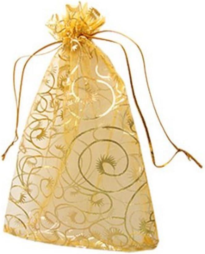 100 Champagner Wimper Organza Kordelzug Beutel Schmuck Party Hochzeit Festival Favor Geschenke Staubbeutel Candy Staubbeutel