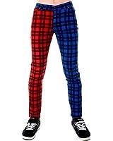 Hommes Tube Jeans Rouge & Bleu Écossais Jambe Fendue