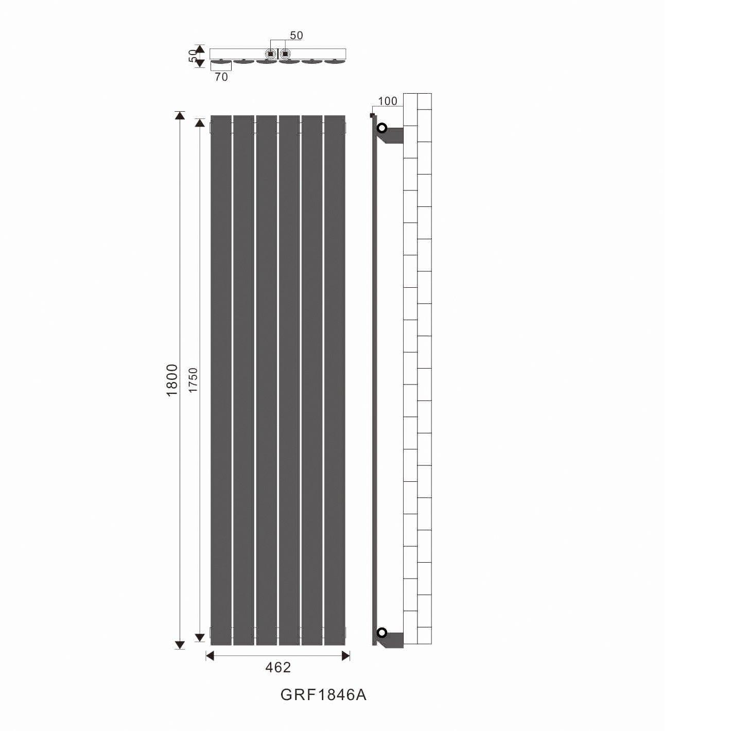 Badheizk/örper Design Flach Heizk/örper 1800x462mm Antrazit Paneelheizk/örper Vertikal Mittelanschluss Einlagig