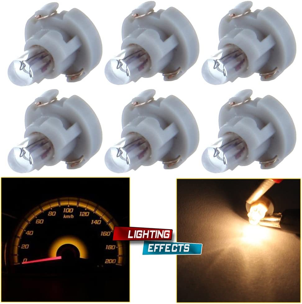 cciyu 6 Pack Warm White T3 Neo Wedge Halogen Bulb Replacement fit for A/C Climate Control Light 12V