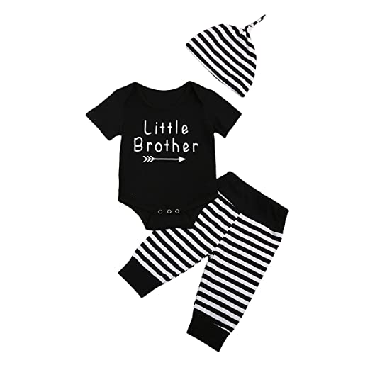 71caccffb803 Amazon.com  3Pcs Baby Boy Stripped Romper Pants Hat Outfit Set ...