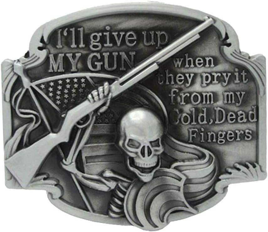 Bonarty Hebilla de Antiguo Plateado Grabado Vaquero Occidental Hebilla del Cinturón de Cuero Unisex, Forma de Oval - Cráneo