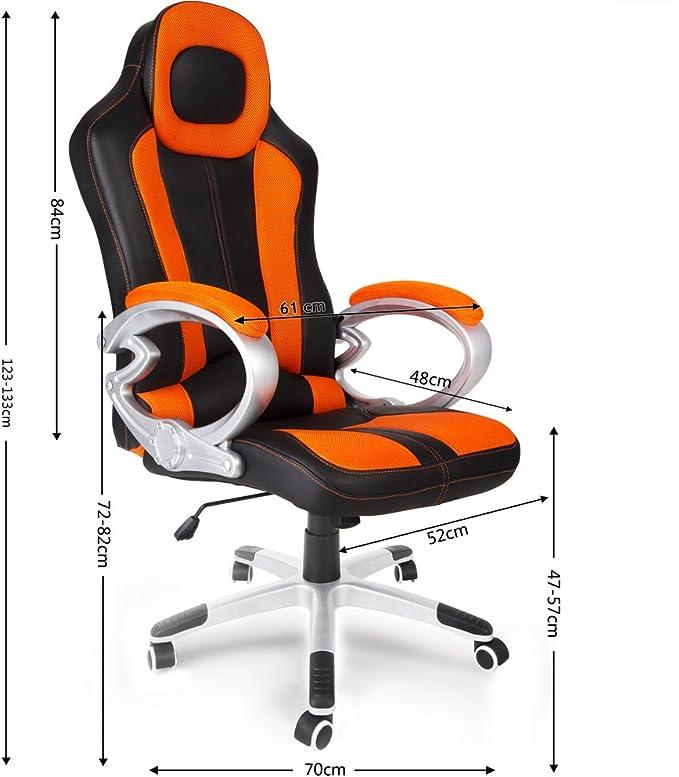 Deuba Chaise de Bureau Sport Fauteuil pc Ordinateur Chaise Gaming Similicuir Ajustable NoirOrange