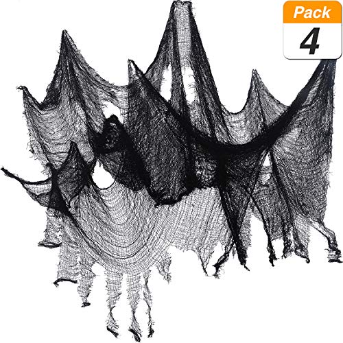 Jovitec 4 Pack Halloween Creepy Cloth, 30 by 72 Inch Freaky Loose Weave Creepy Cloth Fabric Scary Spooky Halloween Decoration (Black)