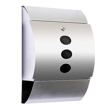 Buzón Correos para Casa Exterior Cartas y Periódico - Color Plateado - Acero Inoxidable - 31x11.5x40.5cm