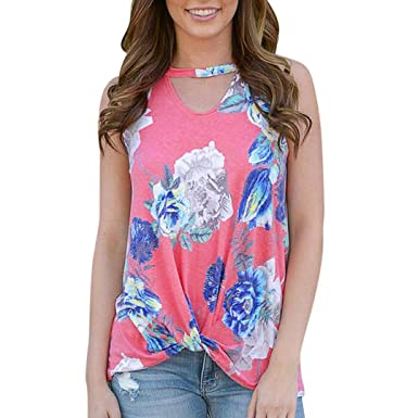 Tank Tops, FORUU Womens Casual Floral Printed Keyhole Cutout Neckline Cami Vest (S,