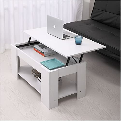 White Wood Lift Top Coffee End Table with Storage Space Living Room Furniture Modern