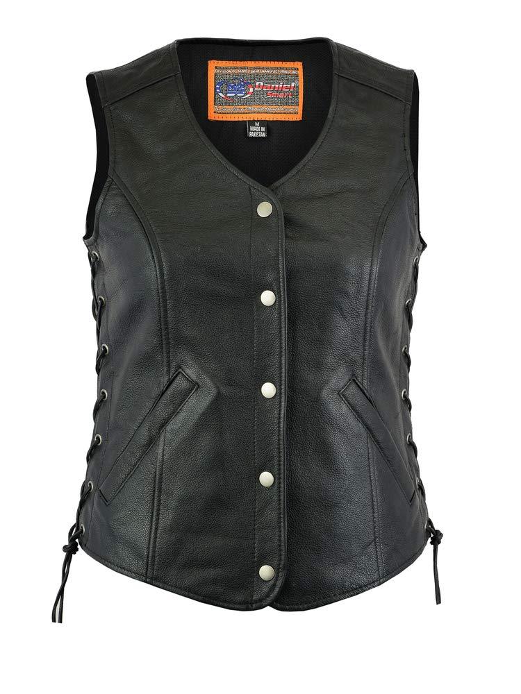 Women's Motorcycle Riding Stylish Longer Body 3/4 Leather Vest (4XL) by Bikersgearonline