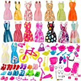 BEYUMI 130 Pcs Doll Clothes Set for Dolls Include Random 16 Pack Party Gown Outfits + 10 Pairs of Shoes + 104 Pcs Doll Accessories for Various Doll, Great Gift for Girls