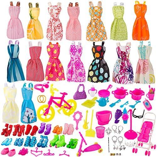 BeYumi パビー人形 着せ替え 130個セット 衣装 パーティドレス 靴 アクセサリー 女の子 ままごと 可愛い 女性 おしゃれ 飾り 大人気 贈り物 プレゼント ギフト