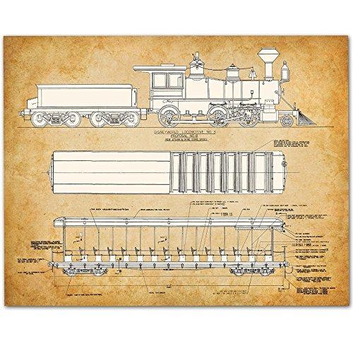 Walt Disney World Train - 11x14 Unframed Patent Print - Great Gift for Disney Fans (Train Vintage Pictures)