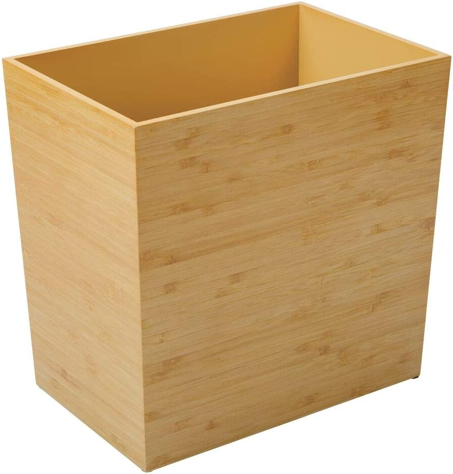 mDesign Trash Can Wastebasket Bamboo Veneer Brown Garbage Container Bin