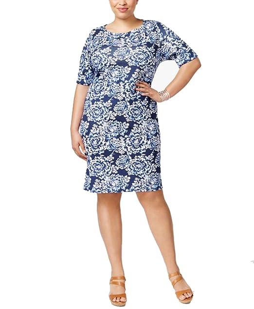 43047f72cfa5 Karen Scott Plus Size Cotton Floral-Print T-Shirt Dress 3X at Amazon  Women's Clothing store: