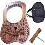 Scottish Traditional Irish Lyre Harp Rosewood Natural Flower Design 10 Metal String