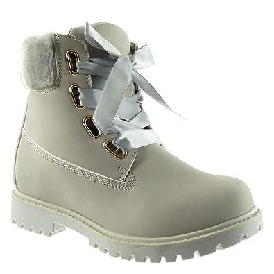 Angkorly - Damen Schuhe Stiefeletten - Combat Boots - Biker - Pelz -  Schnürsenkel aus Satin 33648a8fbe