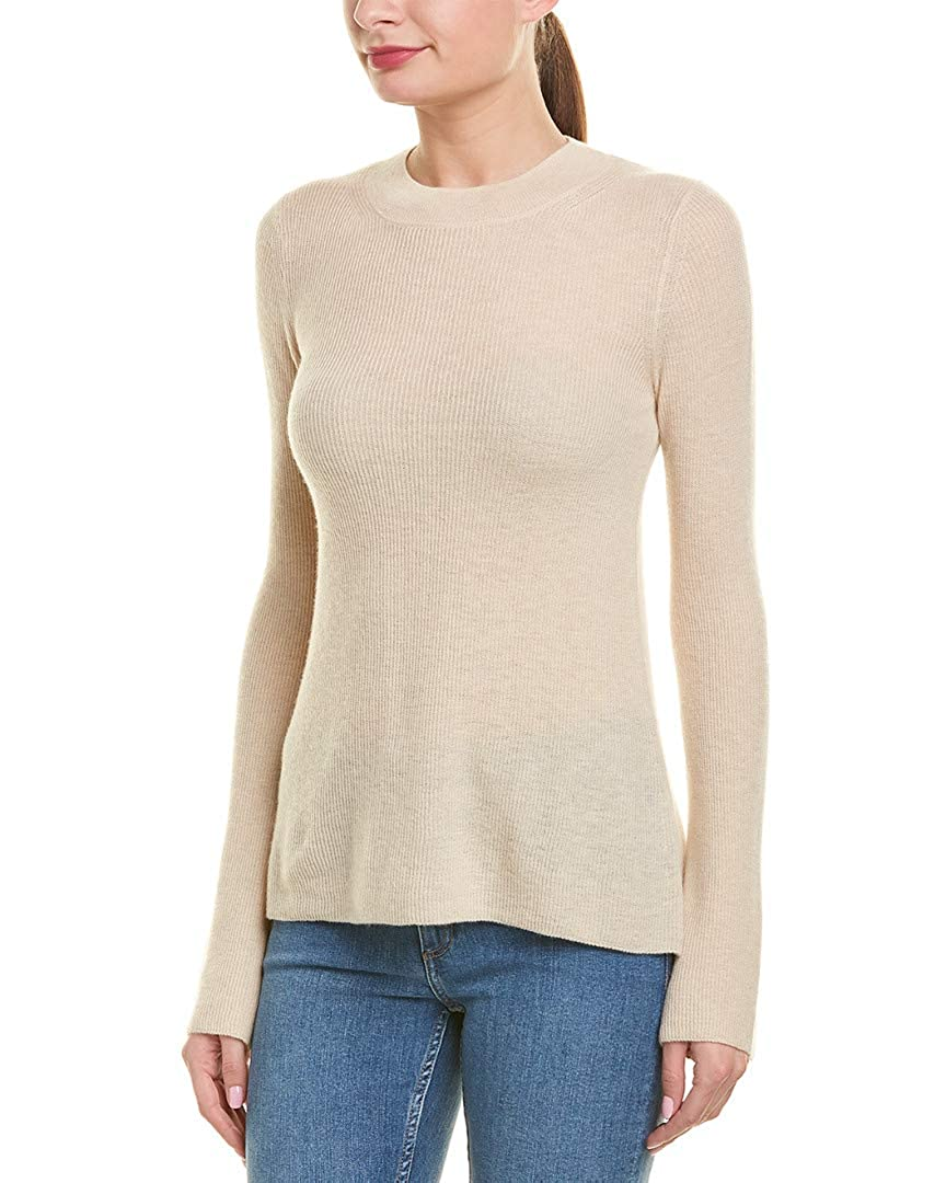 Vince Women's Beige Cashmere Ribbed Knit Sweater
