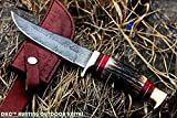 DKC-717 BALD EAGLE Damascus Bowie Hunting Handmade Knife Stag Horn Fixed Blade 9.8oz 10 '' Long 5'' Blade DKC KNIVES