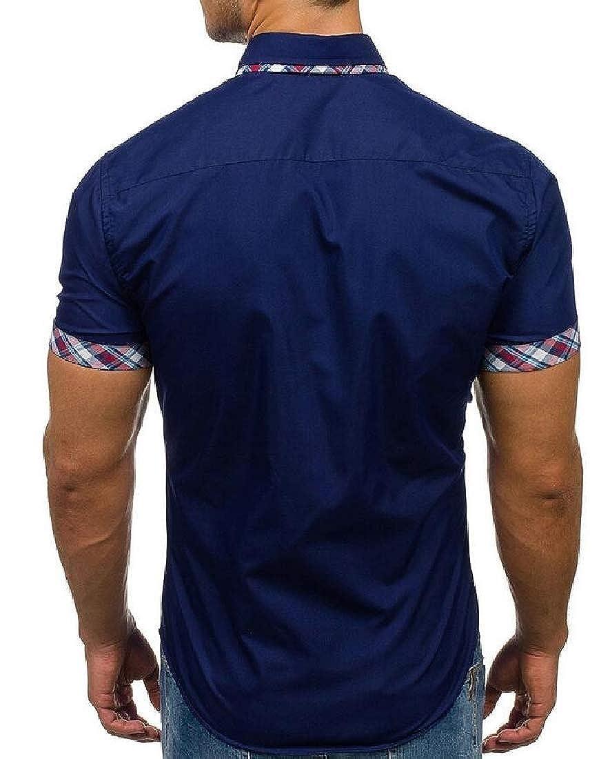 HANA+DORA Mens Short Sleeve Shirts Linen Cotton Button Down Spread Collar Plain Shirts