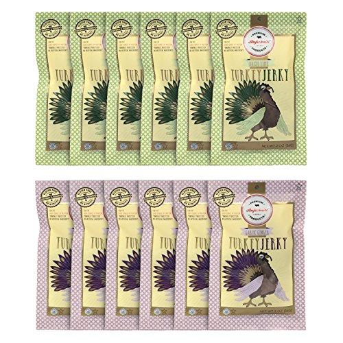Aufschnitt Turkey Jerky 12 Variety Packs Of 2 Oz Each | Star-K Certified Glatt Kosher | Gluten Free, No Nitrites | Responsibly Sourced | 6 Packs Of Ginger Garlic and 6 Packs Of Basil Lime Flavors)