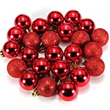 Ornament Ball - SODIAL(R)24Pcs Chic Christmas Baubles Tree Plain Glitter XMAS Ornament Ball Decoration Red