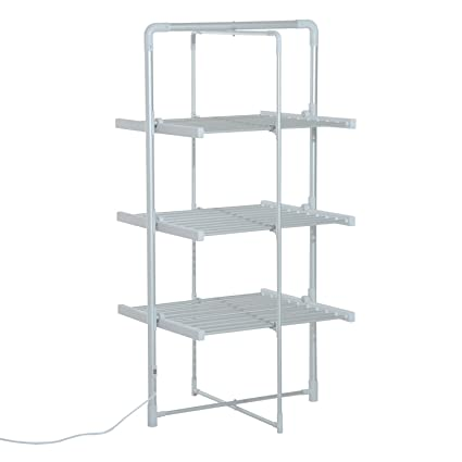HomCom Folding 3 Tier Indoor Portable Electric Heated Laundry Drying Rack  Stand