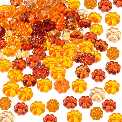 110 Pieces Mini Pumpkins Acrylic Pumpkin Table Scatters for Halloween Thanksgiving Decoration
