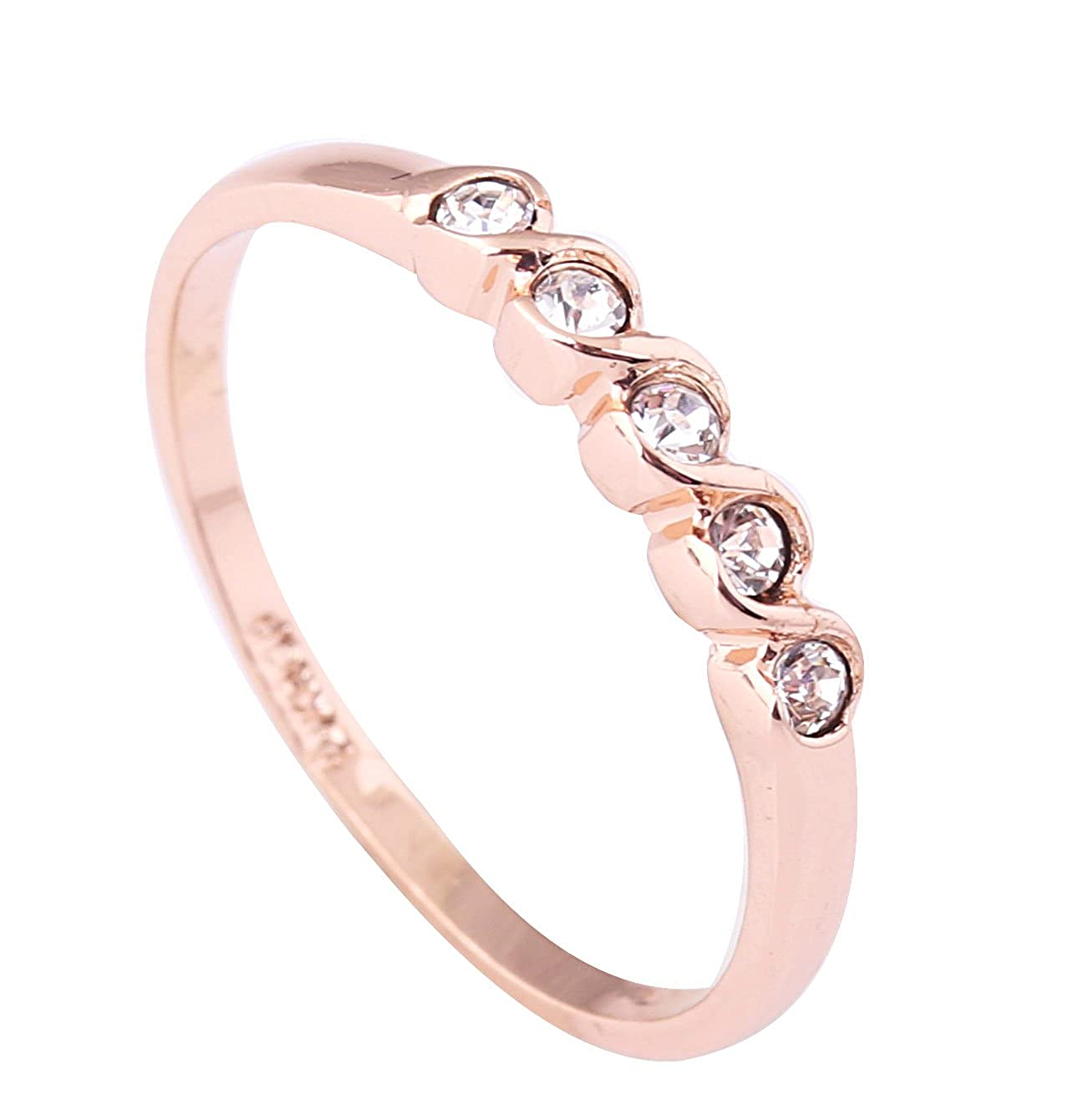 Acefeel Simplicity Style 18K Gold Plated Czech Drilling Band Ring Valentine's Day Mother's Day Gift Ring R031