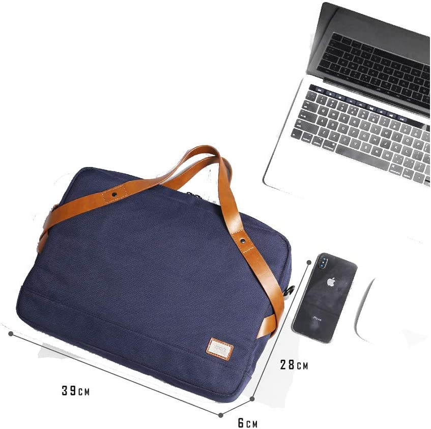 Color : Blue Fklee Office Bag Mens Waterproof Casual Business Handbag Messenger Bag 15.6 Leather Laptop Bag Suitable for Everyday use
