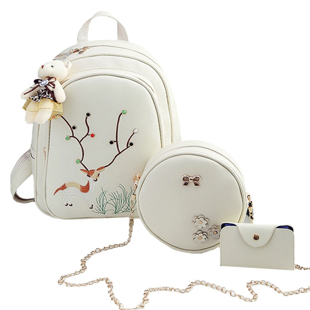 Women Backpack, Creamy-white Deer Pattern Teens School Backpack, include Girl School Bag, Shoulder Bag and Card Book Holder