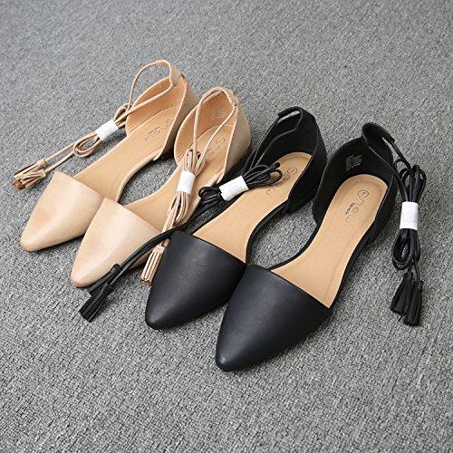 &huo Las sandalias planas puntiagudas, los lazos femeninos con los zapatos romanos, los zapatos ocasionales atractivos y cómodos, observan por favor que un poco grande 40