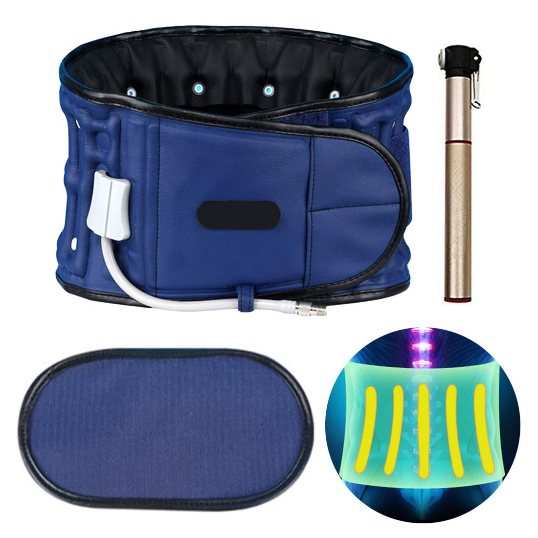 For Back Pain Relief,Decompression Lumbar Support,Spinal Air Traction Device with Back Brace Back Pain.(29-49 inch) (Blue)