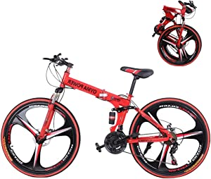 Mountain Bike for Adult Men and Women, High Carbon Steel Dual Suspension Frame Mountain Bike, 21 Speed Gears Folding Outroad Bike with 26 Inches 6-Spoke Rims