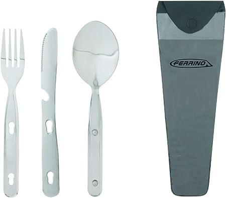 Ferrino Set of 3 Cutlery Steel INOX Set de Cubiertos Acampada y Senderismo, Adultos Unisex, Aluminio, M