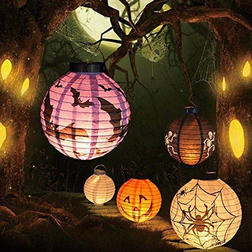 TEKIMBE 4Pcs Halloween LED Pumpkin Light Lantern Skeletons Bats Spiders Hanging Paper Lamp Halloween Props Decor Outdoor Party Supplies