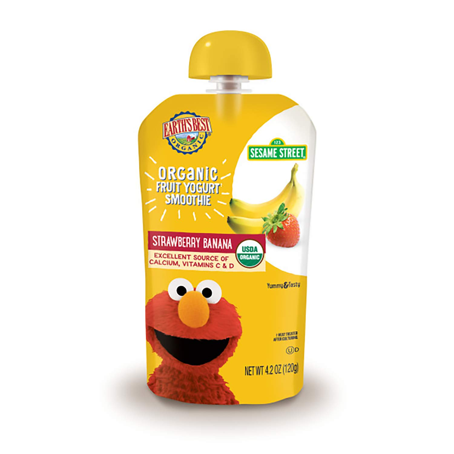 Earth's Best Organic Sesame Street Toddler Fruit Yogurt Smoothie, Strawberry Banana, 4.2 oz. Pouch, 4 Count (Pack of 4)