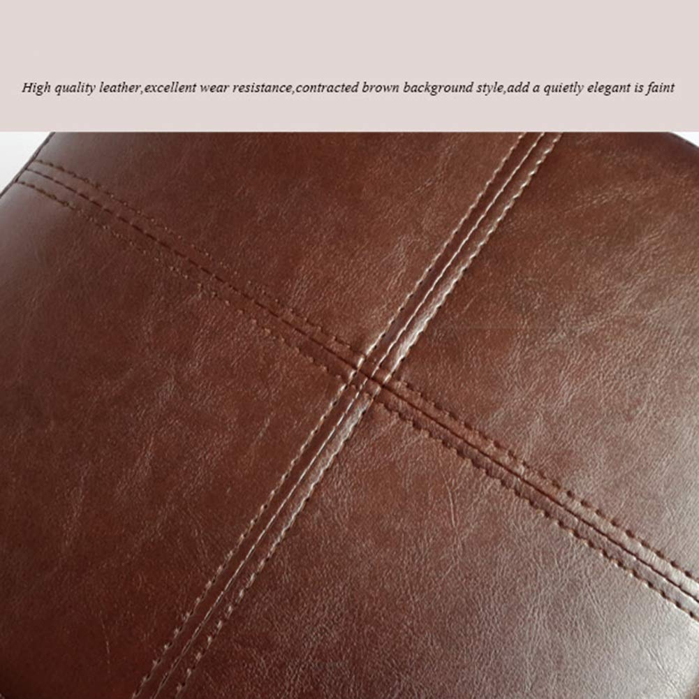ZEMIN Pie Puff Reposapiés Escabel Suave Otomano Pequeña Cuadrado Suave Escabel Cambiar Zapatos Asiento Corto PU Taburete Durable Madera Maciza (Color : Marrón, Tamaño : 32x32x36cm) 0018a1