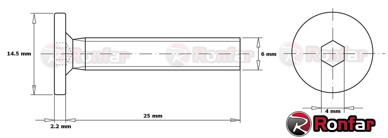 avec filetage m/étrique enti/èrement filet/ées M6 x 25mm 50 pi/èces Ronfar Vis /à t/ête cylindrique /à six pans creux pour meubles