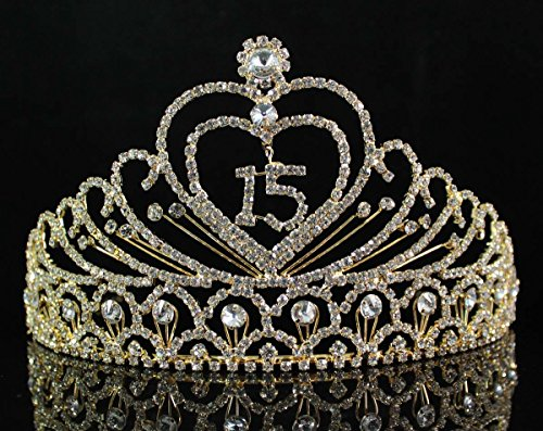 Quinceanera Sweet 15 Fifteen Birthday Rhiestone Tiara Crown W Hair Combs T1756g Gold (Sweet Quinceanera)
