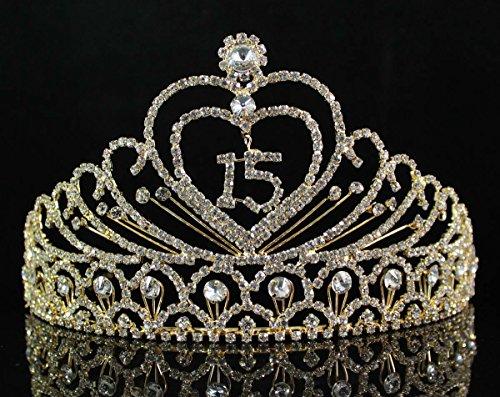 (Quinceanera Sweet 15 Fifteen Birthday Coronas de Quinceañeras Rhiestone Tiara Crown W Hair Combs T1756g Gold)