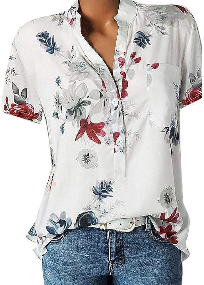 Damen Blusen Ronamick Frauen Oberteile Langarm Damenmode Lose Sch/öne Pullover Knopfleiste Bluse Einfarbig Rundhals Tunika T-Shirt