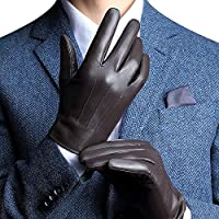 Men's Leather Gloves Christmas Cashmere Lining winter gloves