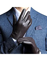 Touchscreen Leather Gloves for Men's Texting Driving Winter Christmas
