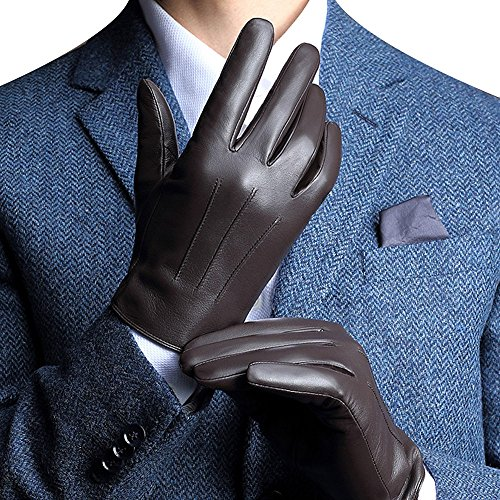 "Harrms Best Touchscreen Italian Nappa Genuine Leather Gloves for men's Texting Driving Cashmere Lining (M-8.5""(US Standard Size), BROWN(CASHMERE LINING))"