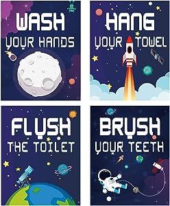 "Funny Space Bathroom Art Print Set of 4 (8""X10""), Cute Universe Art Poster for Boys & Girls Nursery, Kids Bathroom Home Wall Decor, No Frame"