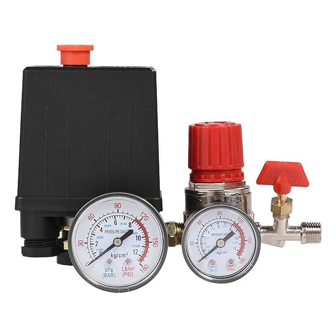 Regulador de válvula de control de interruptor de presión de compresor de aire pequeño con medidores: Amazon.es: Bricolaje y herramientas