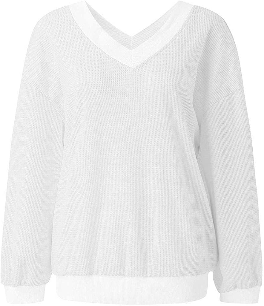 Driuankeji Sweaters for Women V Neck Waffle Knit Tops Off Shoulder Oversized Pullover Sweater